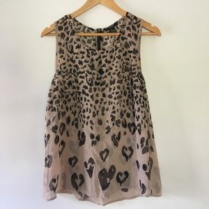 FOREVER 21 sheer black tan leopard tank top large